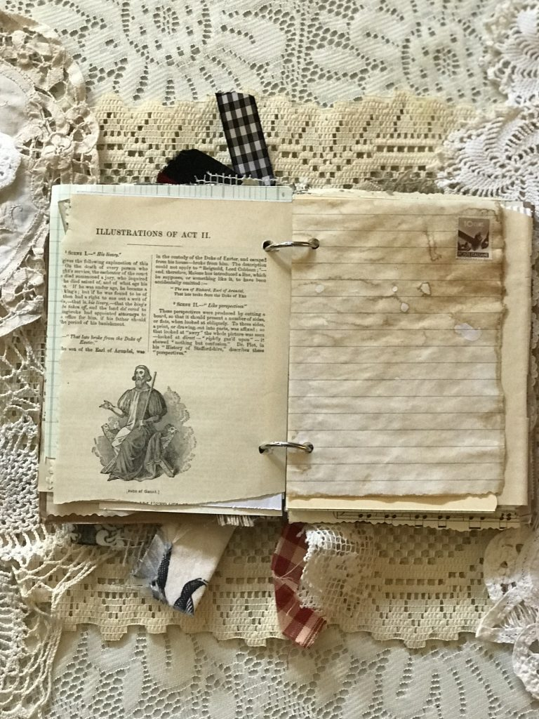 junk journal - book page - coffee dyed paper - stamp