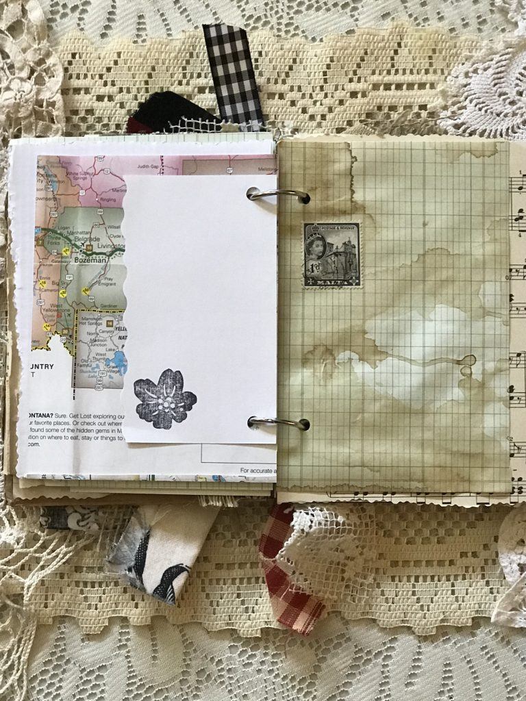 junk journal - coffee dyed graph paper - stamp -rolodex card - map