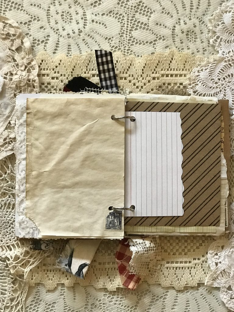 junk journal - rolodex card - coffee dyed - stamp - lace - craftpaper