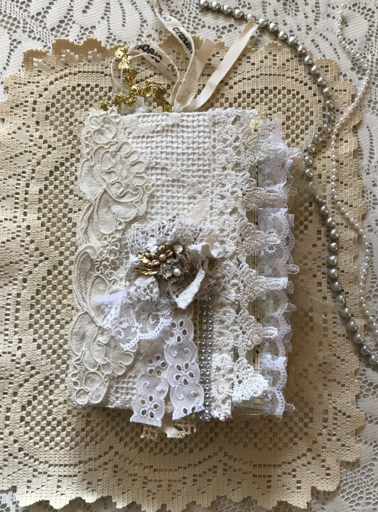 junk journal - cardboard - vintage - shabby chic - distressed - coffee dyed - lace